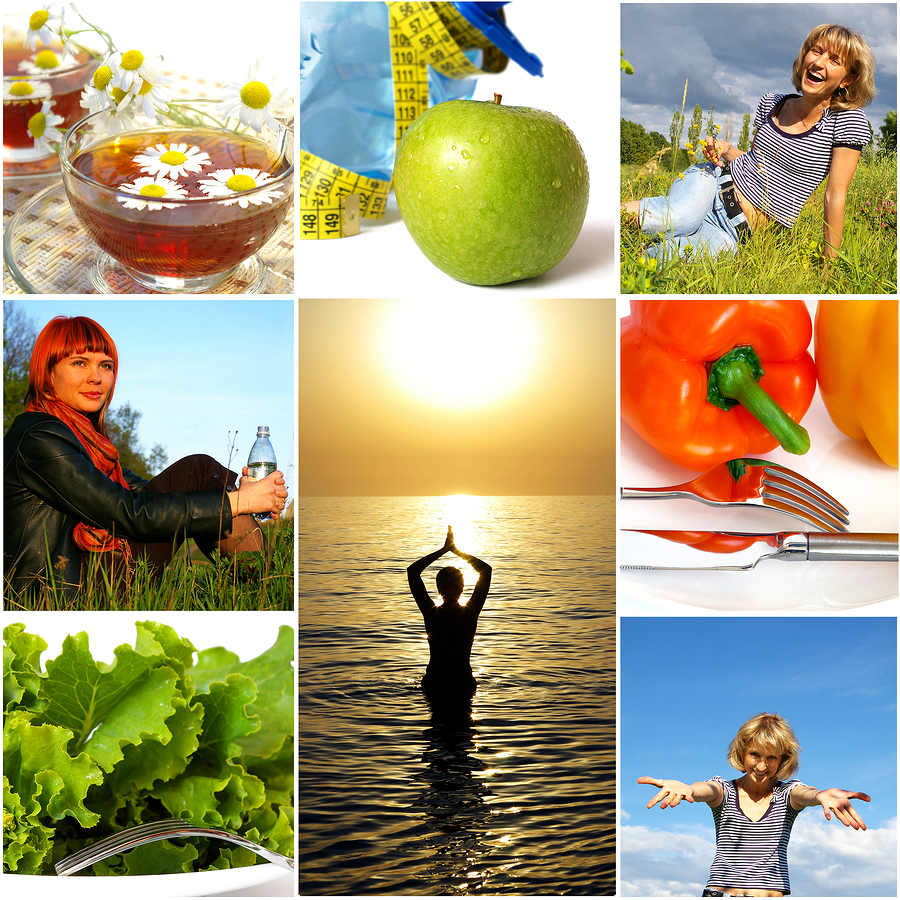 Healthy lifestyle concept, images of healthy food and healthy, happy people